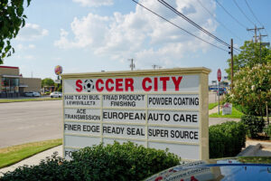 Soccer City Lewisville Street Sign