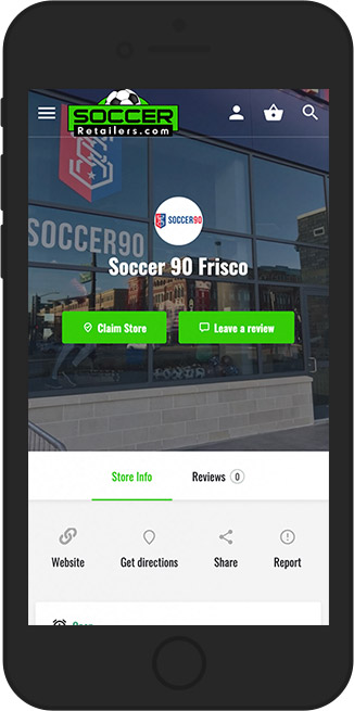 Soccer Retailers store listing on a mobile phone
